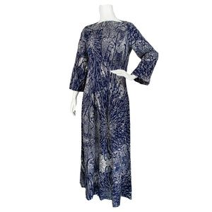 70s Cotton Abstract Floral Print Dress