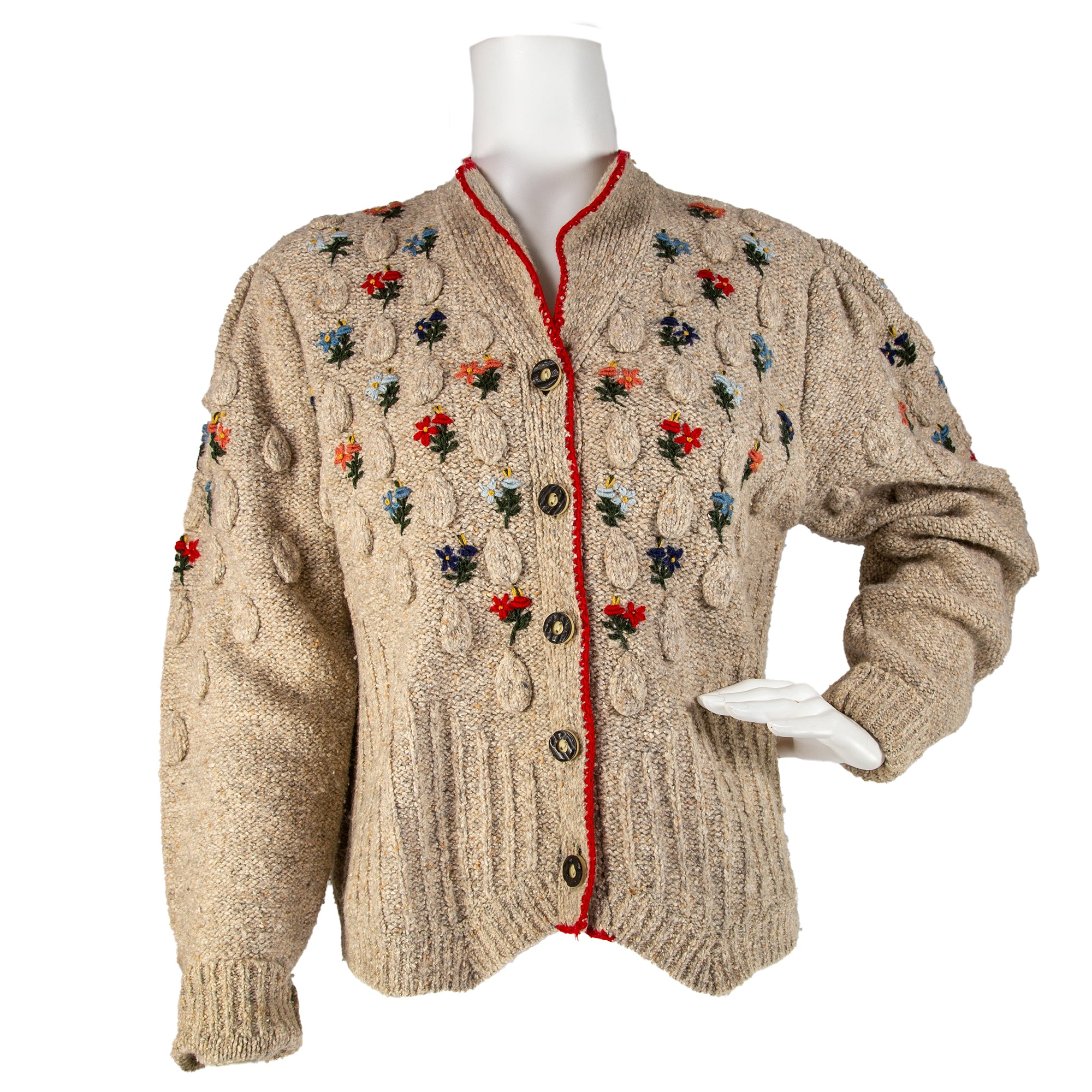 80s Does 30s Embroidered Sweater