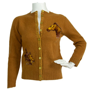 50s Lambswool Sweater with Horse Theme Appliques