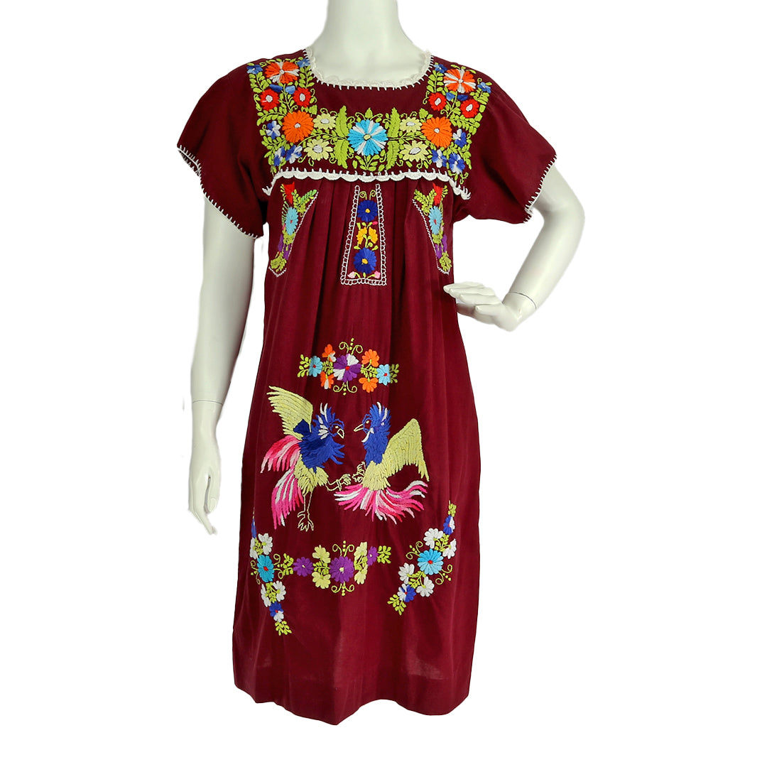 Vintage Embroidered Mexican Cotton Dress