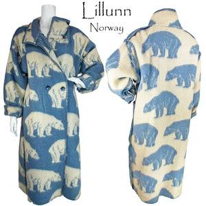 Vintage Lillunn of Norway Polar Bear Reversible Wool Full Length Coat
