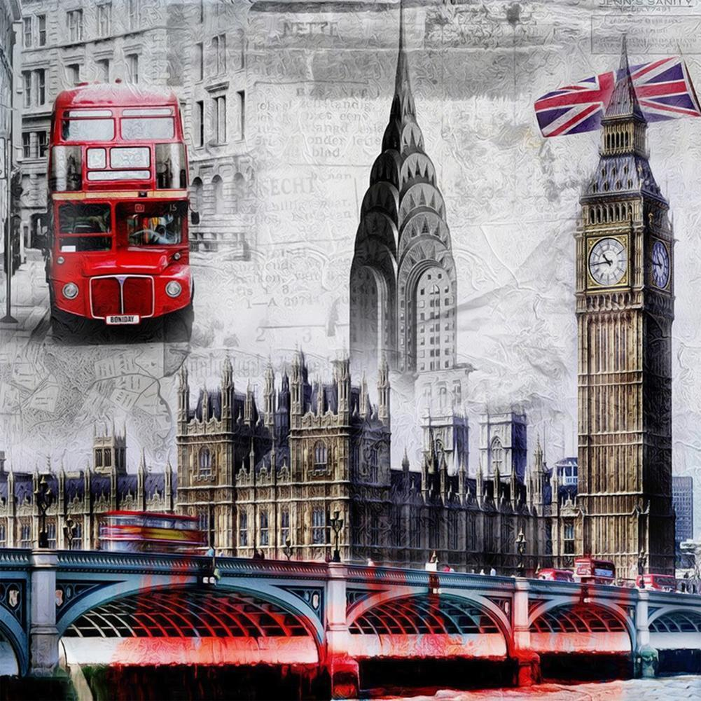 5D fai da te Round Drill Diamante Pittura Città Londra Cross Stitch Kit