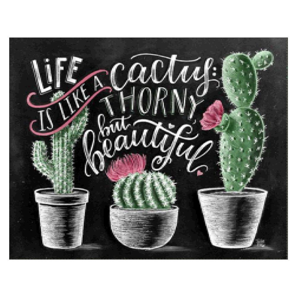 Cactus Blackboard 5D fai da te Full Drill Round Diamond Painting Ricami Kit