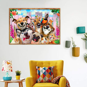 5D fai da tea full drill diamante pittura cani mosaico Kit
