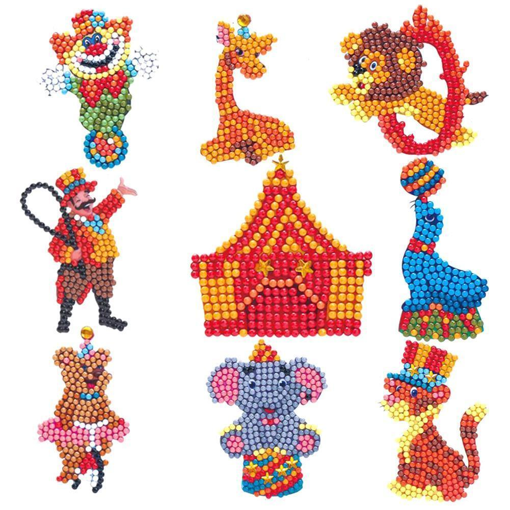 Fai da te Full Drill Round Cartoon Circus Troup Diamante Pittura Puzzle Adesivi