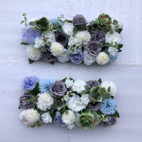 Blue, Grey & Ivory Foliage Floral Runner - Starlight Flower Walls