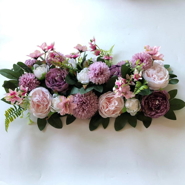Purple, Pink & Ivory Foliage Floral Runner - Starlight Flower Walls