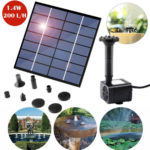1.4W Solar Water Pump DC Submersible Water Pump For Outdoor Garden