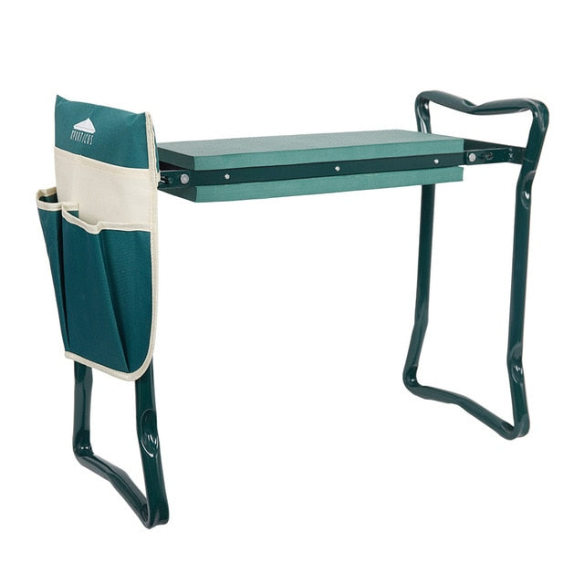 Garden Kneeler and Seat Folding Stainless Steel Garden Stool with Tool Bag