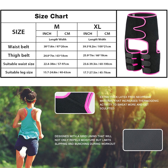 Women Shapewear Waist Mid-Thigh Shapers Fat Burning Compress Slimming Belt Leg Trimmers Neoprene Muscles Band Thigh Slimmer Wrap