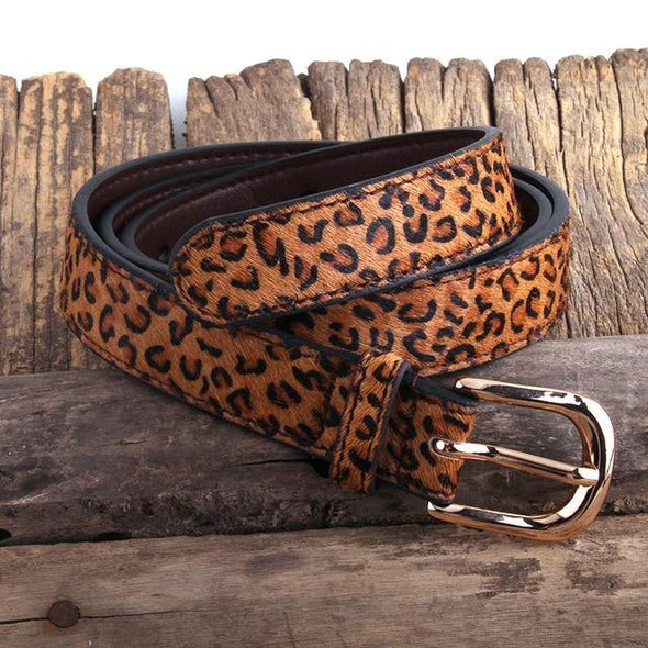 RH Fashion Leopard Spotted Horsehair Leather Belt Genuine Leather Belts Women Accessory Gift DropShipping