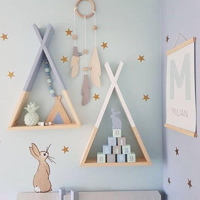 23*39cm New Creative Triangle Wall Frame House Shelf Display Rack Decorate Living Room Bedroom Children Room Crafts Storage Rack