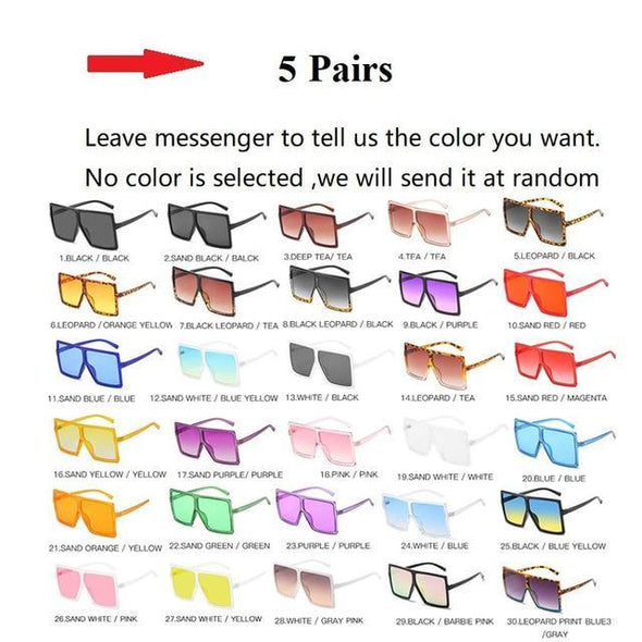Wholesale 30 Colors One Piece Oversized Square Sunglasses For Women 2020 Luxury Brand Black Sun Glasses Female Big Shades  Bulk