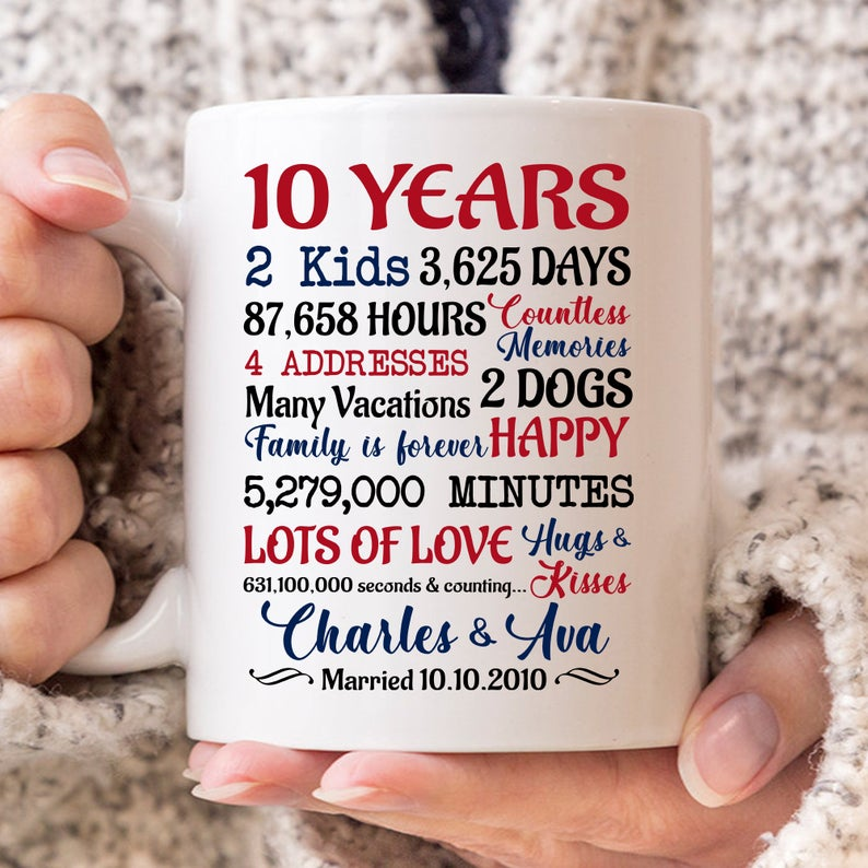 White Mug Wedding Anniversary Gifts For Him Paper Canvas 10 Year Family Presents