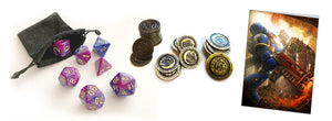 Purple marbled Polyhedral dice, fantasy metal coins and a Warhammer 40k Birthday card