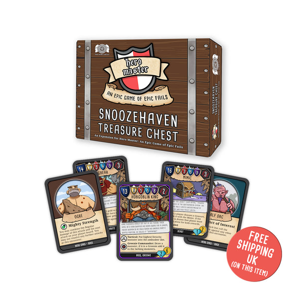 Snoozehaven Treasure chest. Expansion to Hero Master an Epic Game of Epic Fails. Adventure board game. Funny game, dungeons and dragons jokes