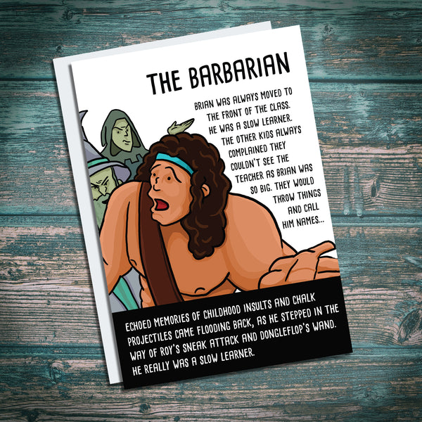 Funny Barbarian greetings card. For DND players