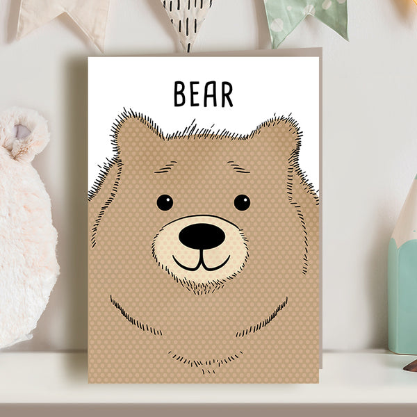 Cute bear illustration greetings card for new baby, nursery or toddler's birthday