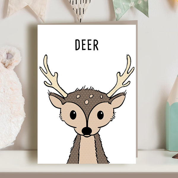 Cute deer illustration greetings card for new baby, new mum, new dad, nursery