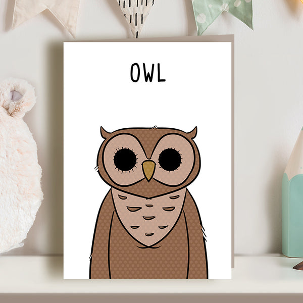 cute owl illustration greetings card, for new baby, new mom, new mum nursery, new parents. Kid's birthday.