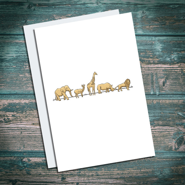Nursery safari animals greetings card, birthday card for kids, babies, new mother card