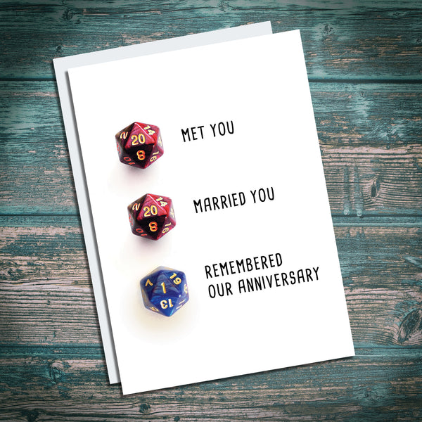 D20 forgotten anniversary cards. Dungeons and Dragons inspired. DND. dice critical fail.