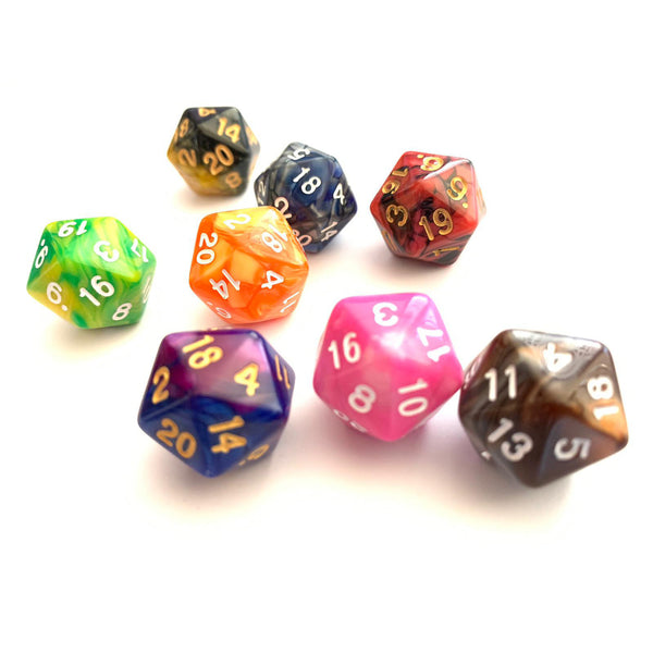 Marbled D20 dice in different colours. Critical hit your enemies in Dungeons and Dragons. DND