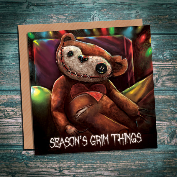 Teddy Bear - Season's Grim Things creepy alternative horror Christmas card