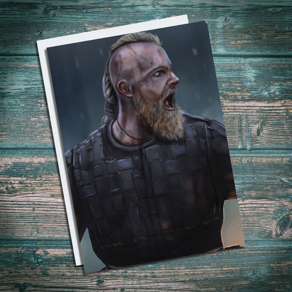 Bjorn Ironside Illustration Greetings Card  based on Vikings