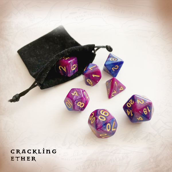 Purple blue marble effect dice. Looks like wizard dice. Crackling Ether