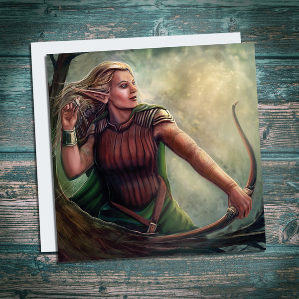 female elf ranger artwork on greetings card, gift for geeks