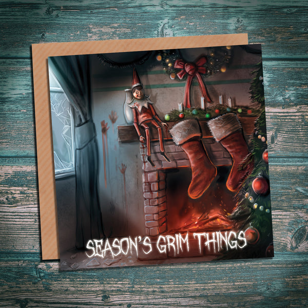 Elf on the Shelf - Season's Grim Things creepy alternative horror Christmas card