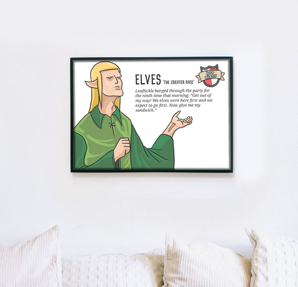 dungeons and dragons elves, elf, funny demotivational meme poster wall print
