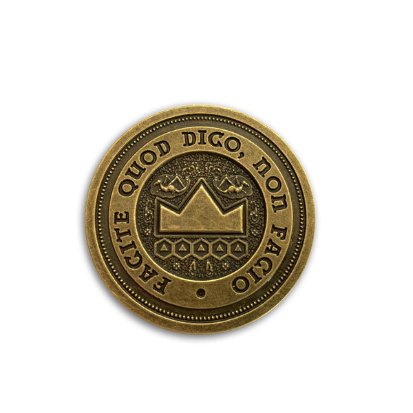 Dungeon master coin, dungeons and dragons, RPG, props, latin coin, do as i say, not as I do