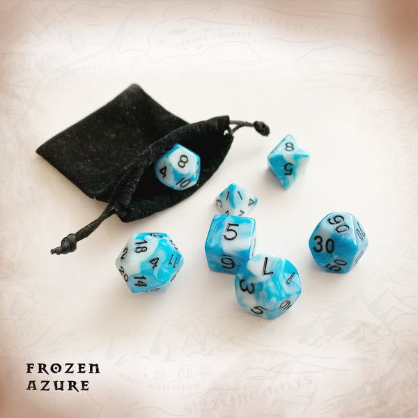 Blue cyan white barble effect dice, with soft drawstring bag. Polyhedral Dice for Dungeons and Dragons and other RPGs