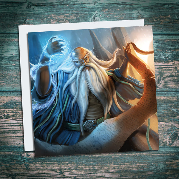 wizard fantasy scene birthday card for geeks