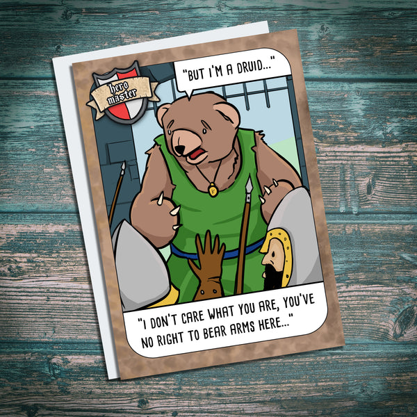 Druid, bear arms, shapeshifter, town guards, greetings card. funny hero master