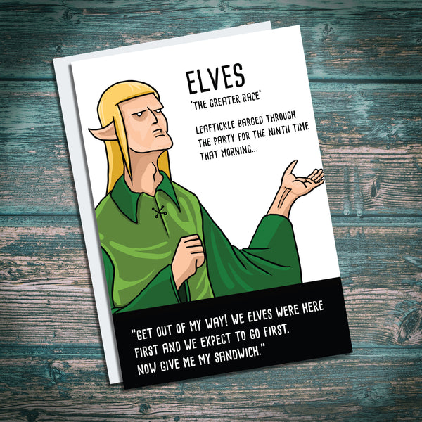 Elf greetings card. Funny DND RPG Tolkien