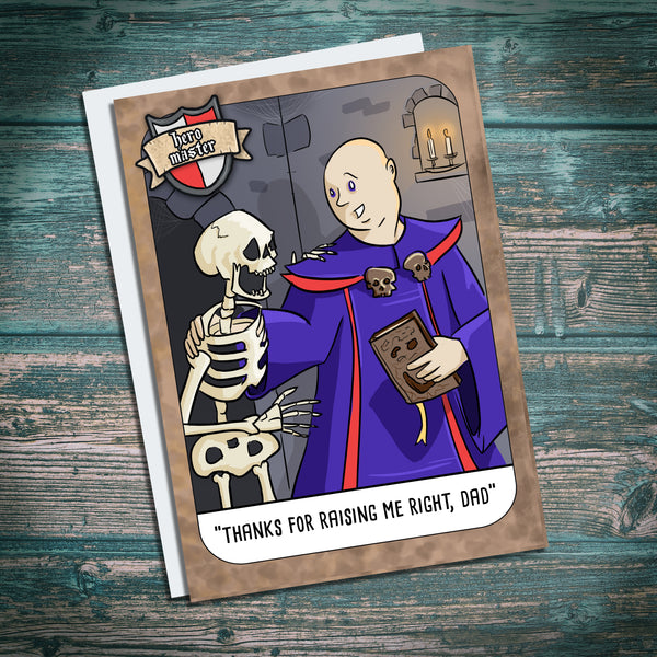funny necromancer greetings card. Skeleton, Fathers day, Dad Birthday card, daddy. Necronomicon