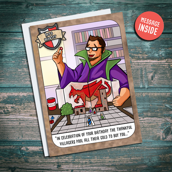 Funny dnd inspired greetings card hero master, dungeon master