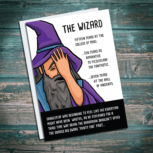 Wizard Critical fail. Stupid barbarian. Dungeons and Dragons parody. Funny birthday card.