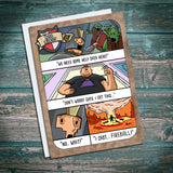 Fireball, collateral damage, wizard, mage, critical fail, funny, dungeons and dragons, dnd. birthday card, greetings card