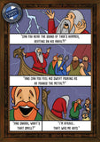 Funny greetings card for birthdays and other occasions about Thor's hammer and Viking long ships. Ends in fart joke.