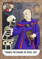 """The Necromancer"" Fantasy Geek Humour Greetings Card from Hero Master"