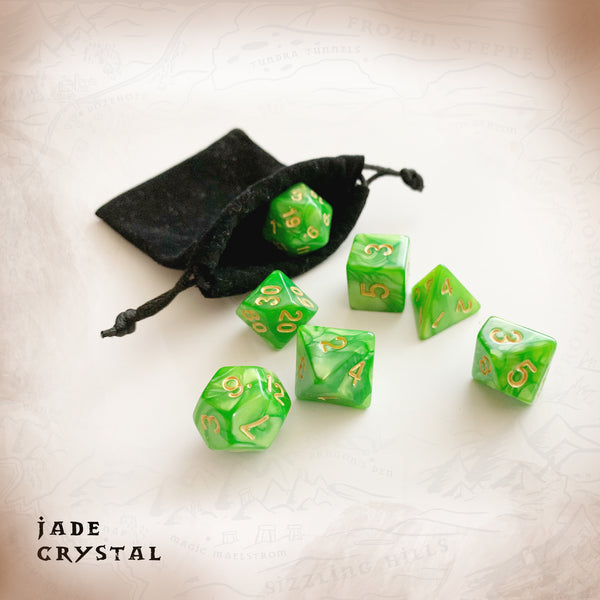 Green marbled polyhedral dice for dungeons and dragons