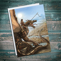 world of warcraft dragon rider, golden dragon, classic fantasy greetings card illustration