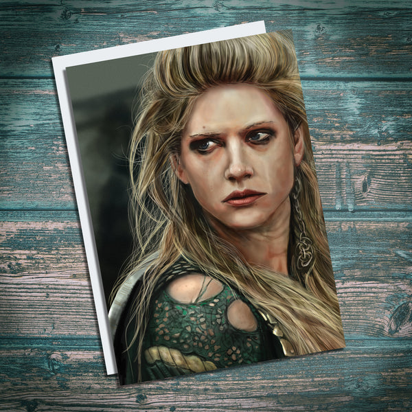Lagertha Lothbrok, Vikings, Shield maiden, Catherine Winnock illustration greetings card