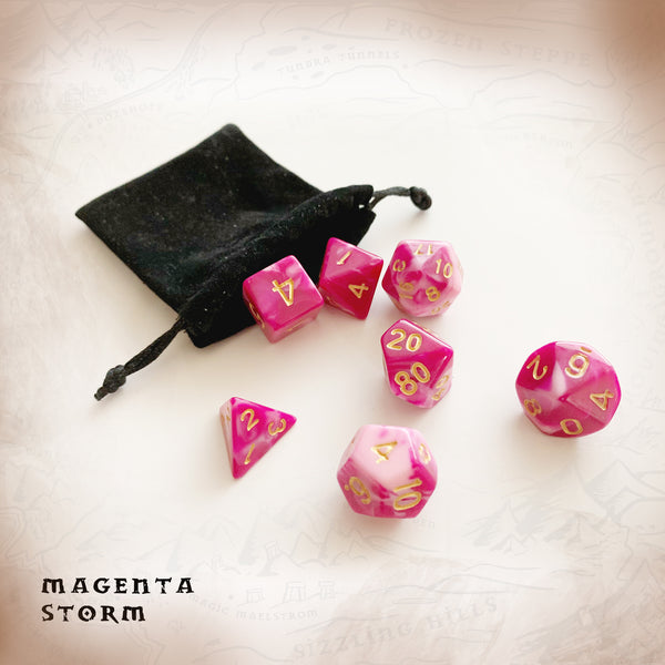 Magenta Storm, pink marble effect polyhedral dice for DND dungeons and dragons and RPG gaming