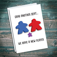 New baby meeple card. Board Game parents. Congratulations greetings card