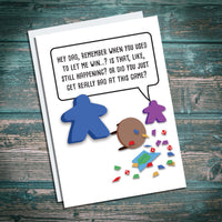 geeky dad fathers day card, happy birthday dad, greetings card, meeple, board game